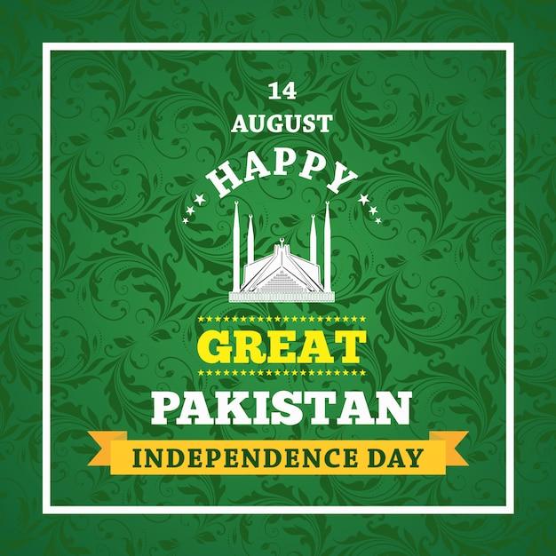 Dia da independência feliz o 14 de agosto paquistão cartão comemorativo Vetor Premium