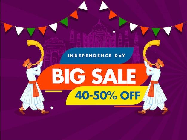 Dia da independência grande venda cartaz linha arte índia monumentos famosos e dois homens soprando chifre de tutari no fundo de raios roxos. Vetor Premium