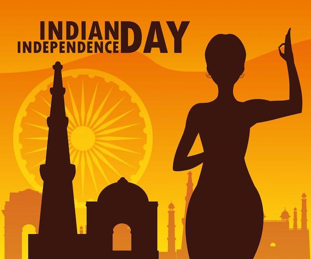 Dia da independência indiana com silhueta de mulher e mesquita Vetor Premium