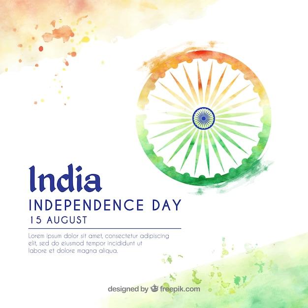 Dia da independência indiana fundo aquarela Vetor grátis