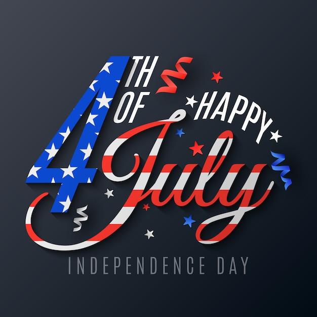 Dia da independência. letras para 4 de julho. banner de texto festivo em um fundo escuro. serpentina e confetes espalhados. padrão de bandeira dos estados unidos da américa. Vetor Premium