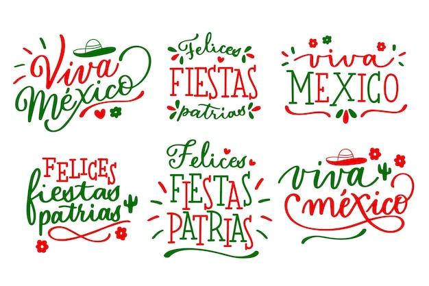 Dia da independência mexicana letras distintivos Vetor Premium