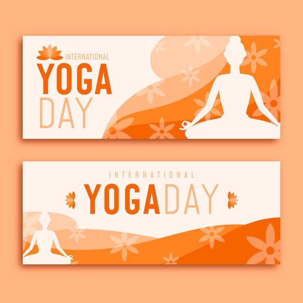 Dia da ioga banners design plano Vetor grátis