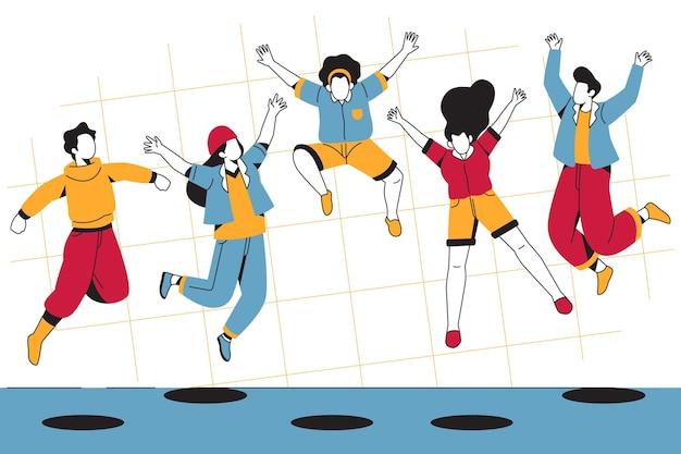 Dia da juventude com jovens pulando Vetor grátis