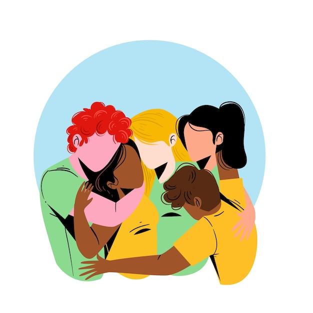 Dia da juventude com pessoas abraçando juntos Vetor grátis