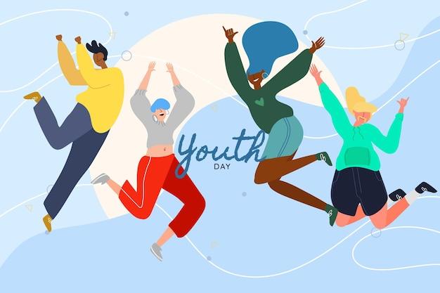 Dia da juventude desenhada de mão - saltando pessoas Vetor grátis