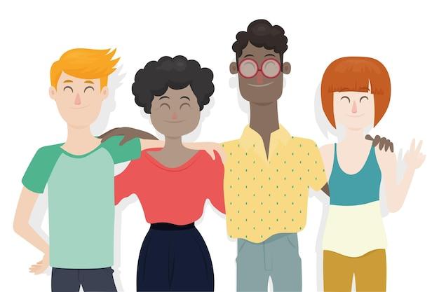 Dia da juventude design plano - pessoas abraçando juntos Vetor grátis