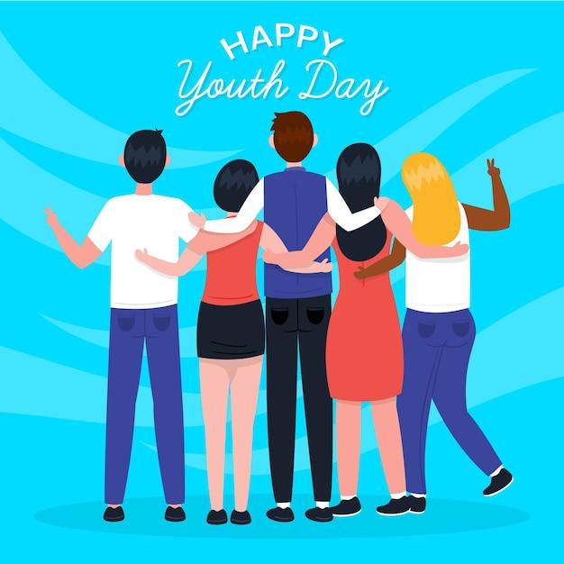 Dia da juventude mão desenhada - pessoas abraçando juntos Vetor grátis