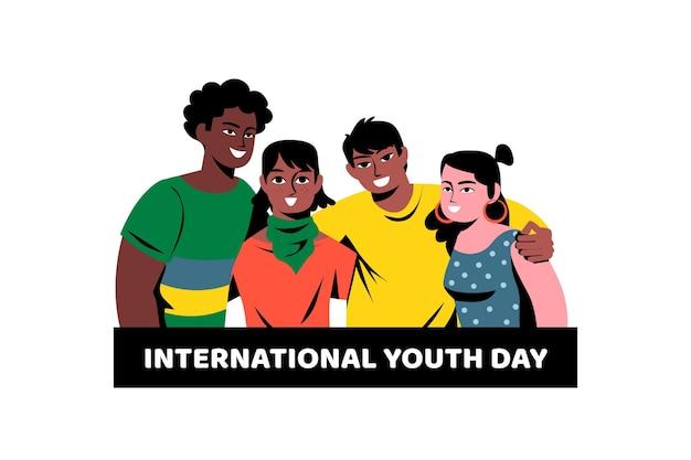Dia da juventude plana - pessoas abraçando juntos Vetor grátis