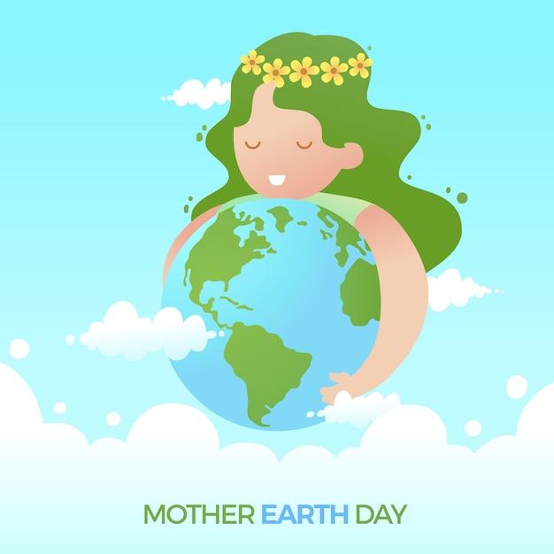 Dia da mãe terra plana bonito com menina abraçando o planeta Vetor grátis