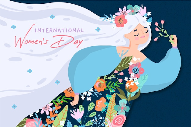 Dia da mulher desenhada de mão Vetor Premium