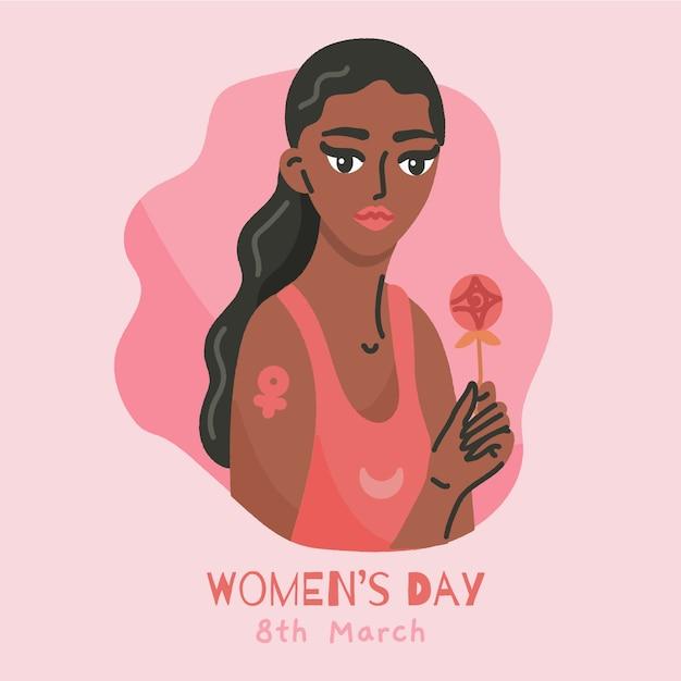 Dia da mulher desenhada de mão Vetor grátis