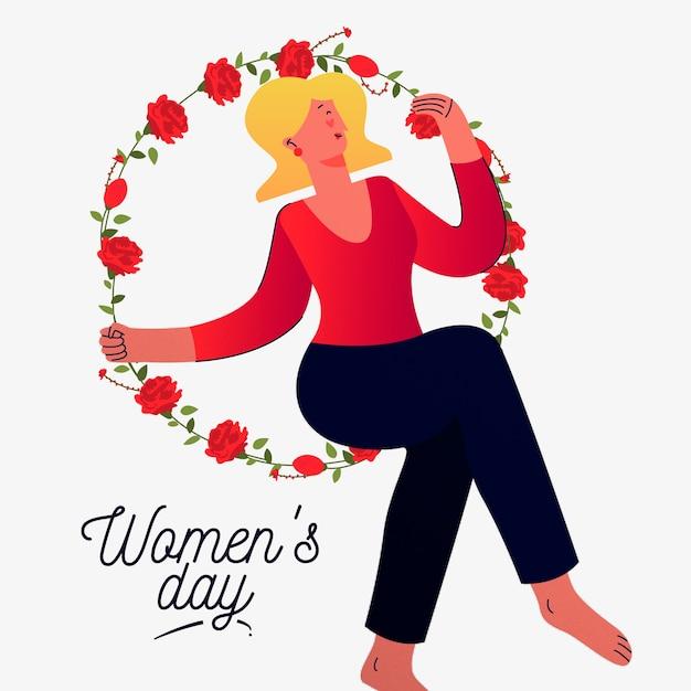 Dia da mulher floral com mulher no círculo da flor Vetor grátis