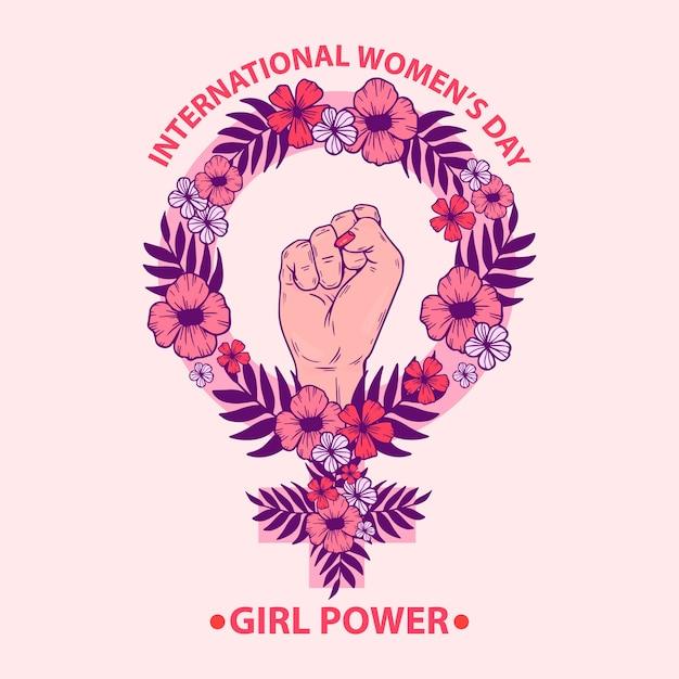 Dia da mulher floral com punho do poder das meninas Vetor grátis
