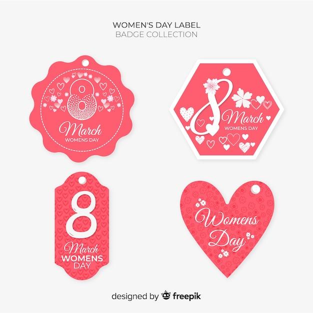 Dia da mulher label collectio Vetor grátis