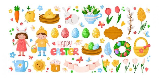 Dia da páscoa dos desenhos animados, crianças menino menina em trajes, ovos de páscoa, flores da primavera, coelho, frango, ramo de salgueiro Vetor Premium