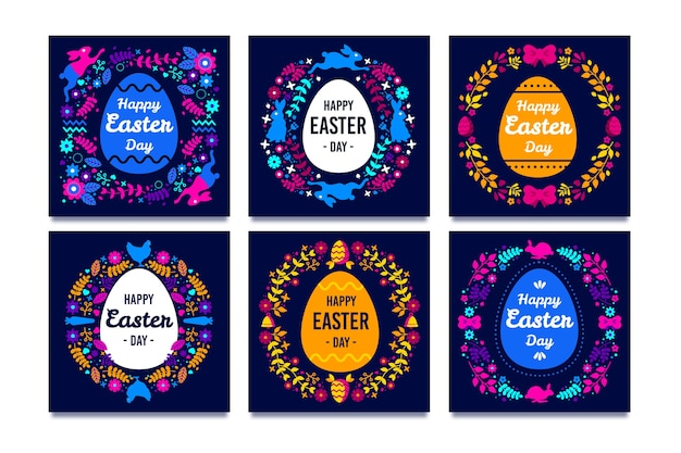 Dia da páscoa instagram post coleção conceito Vetor grátis