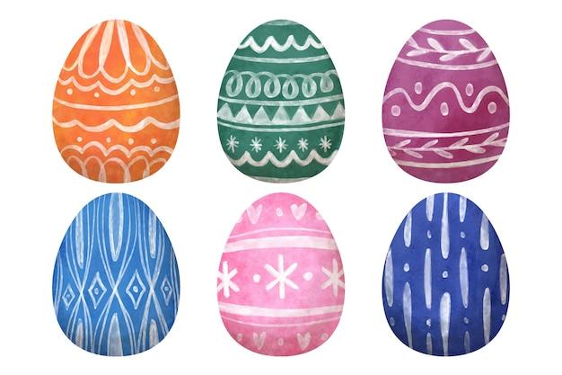 Dia da páscoa ovo coleção aquarela design Vetor grátis