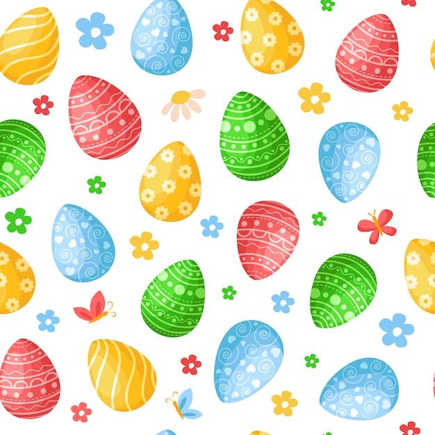 Dia da páscoa - padrão sem emenda com ovos de páscoa, flores fundo colorido ou textura infinita Vetor Premium