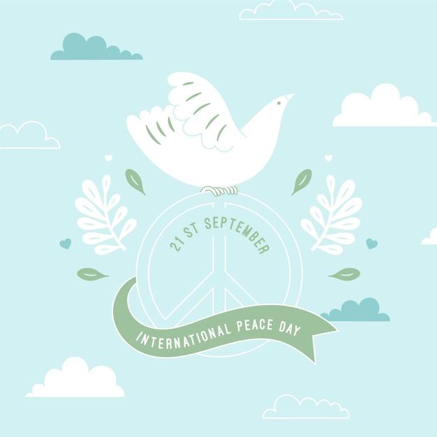 Dia da paz branco pombo e fita Vetor grátis