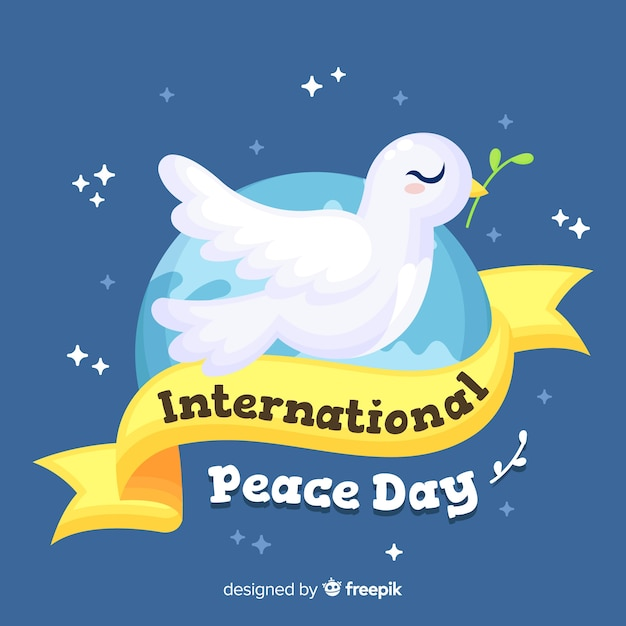 Dia da paz design plano com uma pomba Vetor grátis
