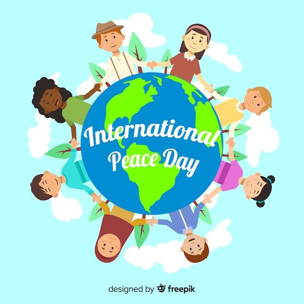 Dia da paz fundo crianças segurando as mãos ao redor do mundo Vetor grátis