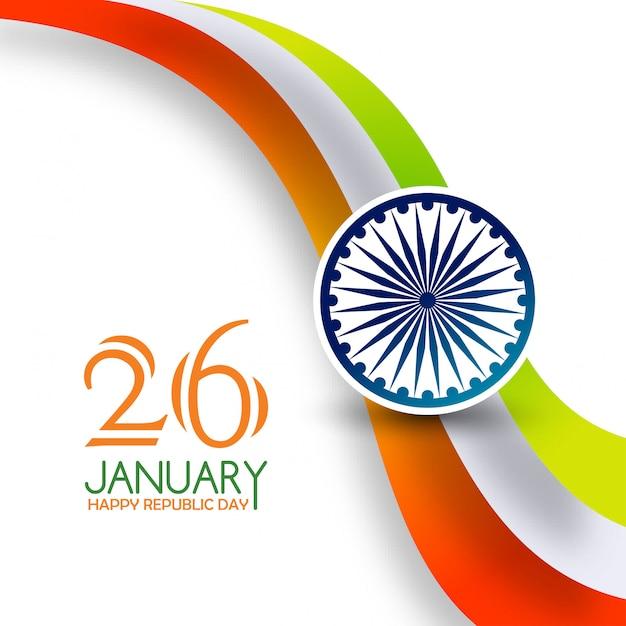 Dia da república da índia 26 de janeiro tiranga background Vetor grátis