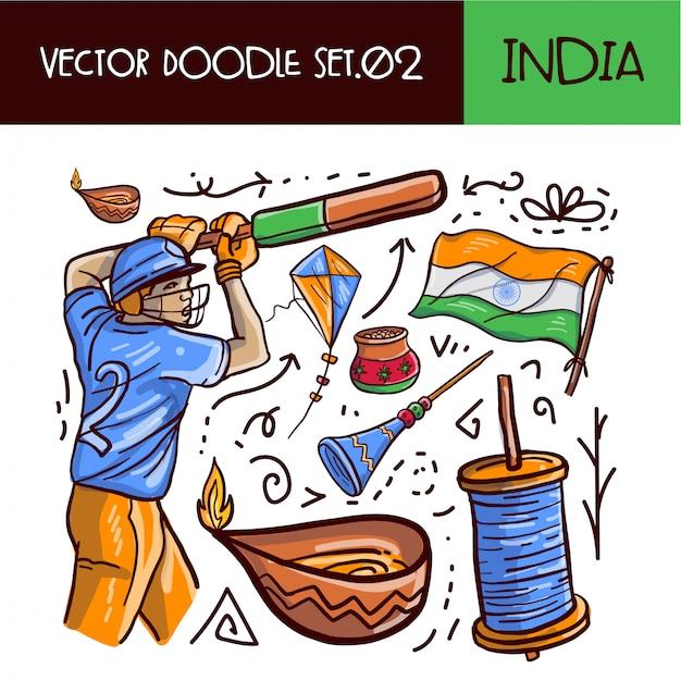 Dia da república da índia doodle icon set Vetor Premium