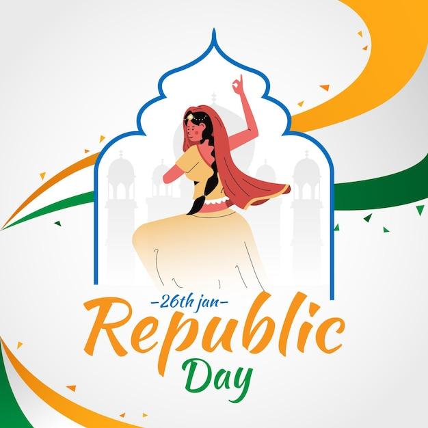 Dia da república desenhada à mão Vetor Premium