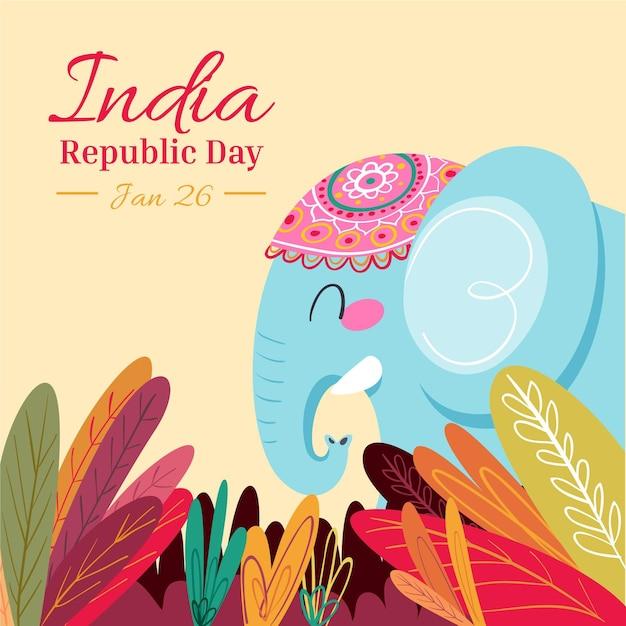 Dia da república desenhada à mão Vetor grátis