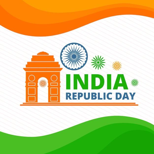 Dia da república indiana com bandeira indiana Vetor grátis