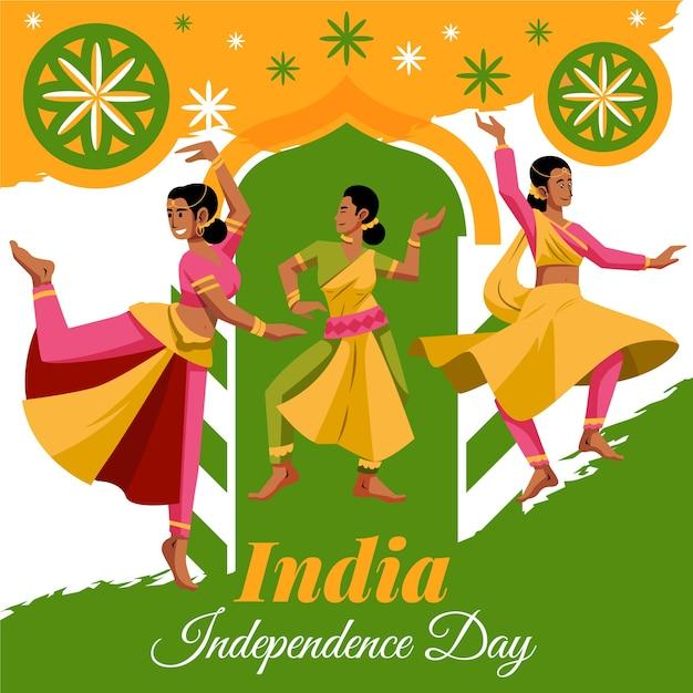 Dia da república indiana com dançarinos em design plano Vetor grátis
