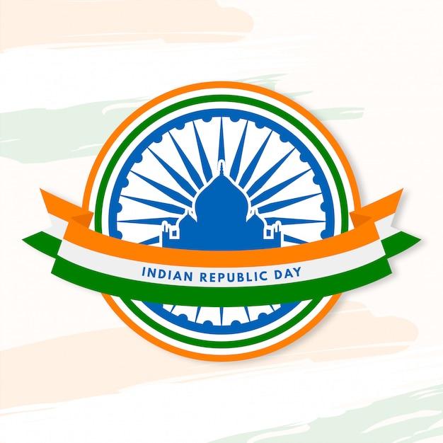 Dia da república indiana com edifícios icônicos Vetor Premium