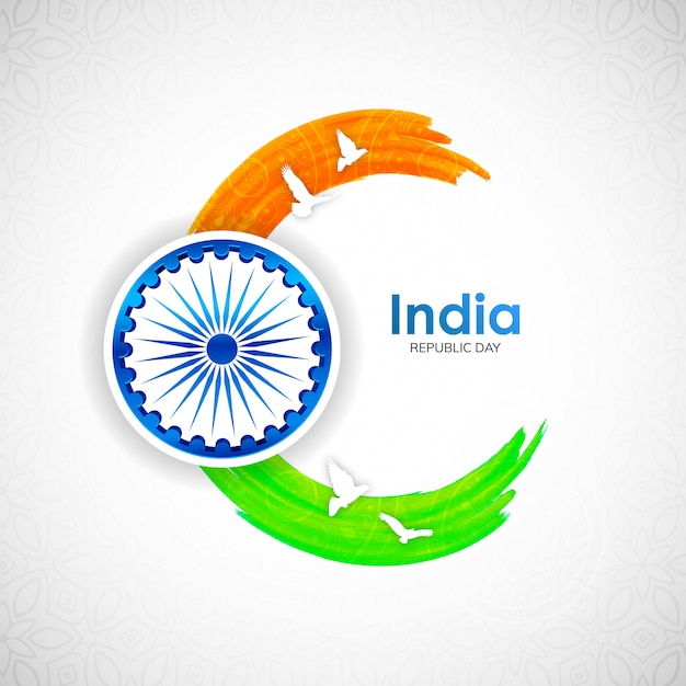Dia da república indiana com traço tricolor indiano e pomba voa Vetor Premium