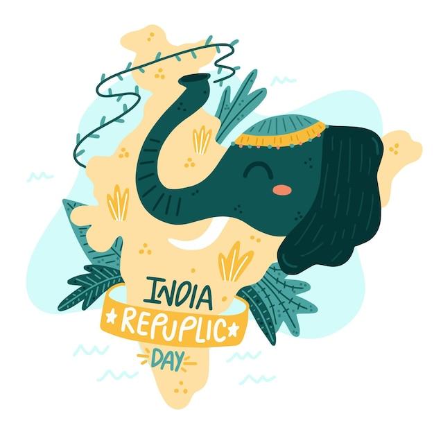 Dia da república indiana desenhada à mão Vetor grátis