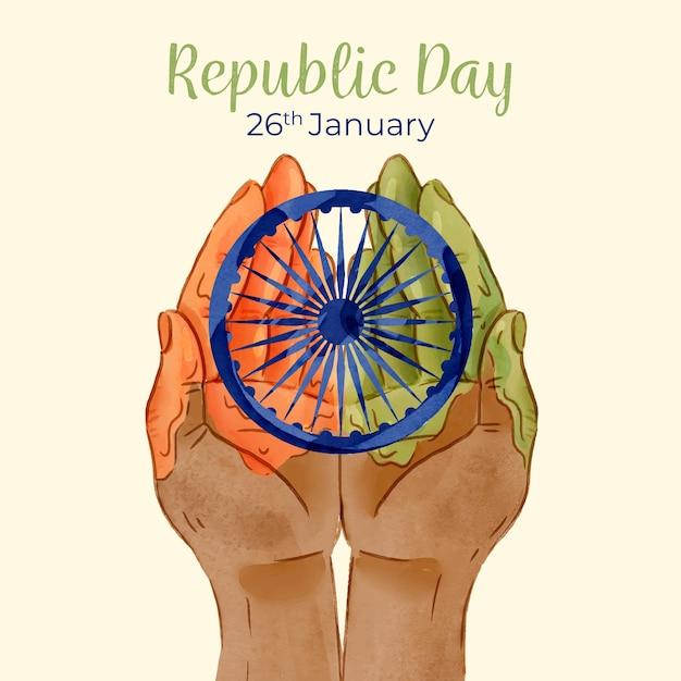 Dia da república indiana em aquarela com as mãos Vetor grátis