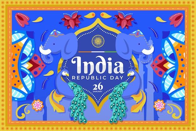 Dia da república indiana em design plano com elefantes Vetor Premium