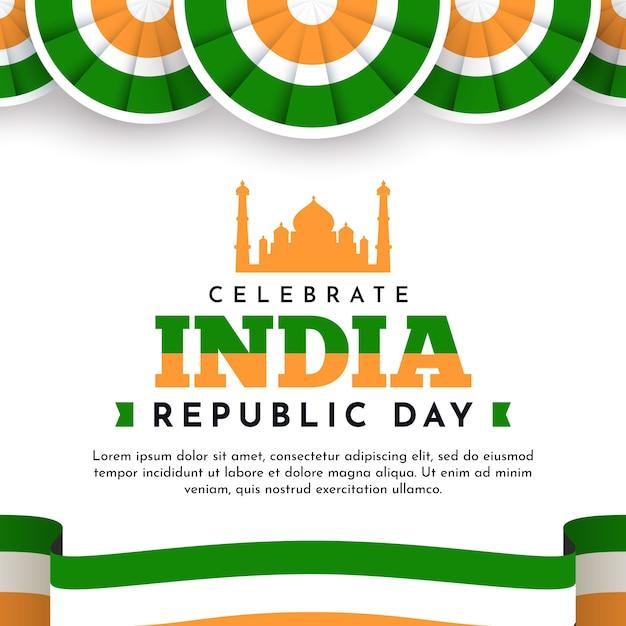 Dia da república indiana em design plano com taj mahal e bandeira Vetor grátis