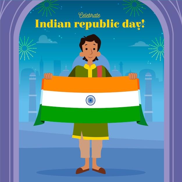 Dia da república indiana mão desenhada Vetor grátis