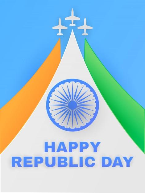 Dia da república na índia poster Vetor Premium