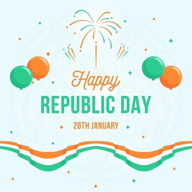 Dia da república plana com balões e bandeira Vetor grátis