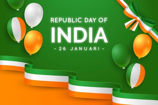 Dia da república realista com balões Vetor Premium