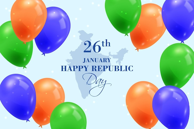 Dia da república realista com balões Vetor grátis