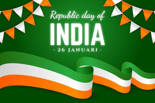 Dia da república realista com bandeira Vetor Premium