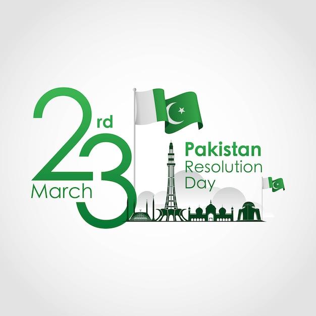 Dia da resolução do paquistão Vetor Premium