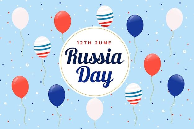 Dia da rússia e balões com fundo de bandeira Vetor grátis
