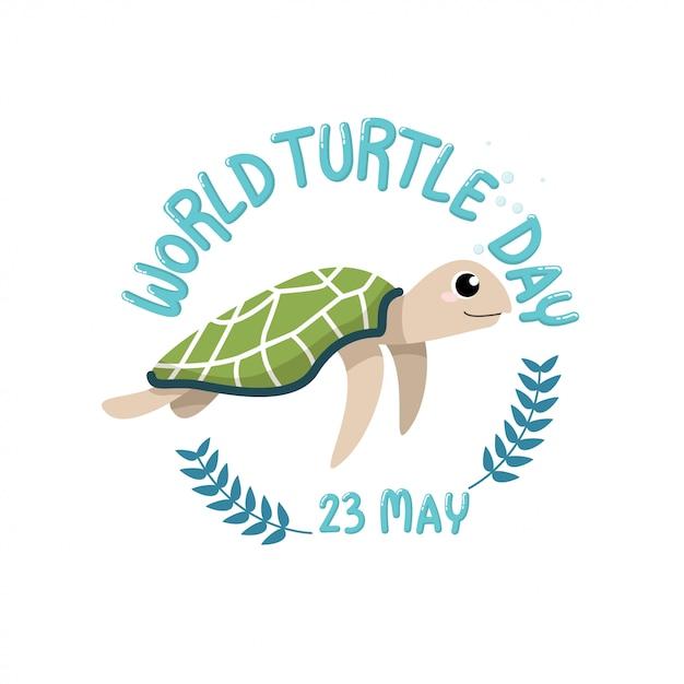 Dia da tartaruga do mundo, 23 de maio. desenhos animados de tartaruga bonito com dia de tartaruga mundo texto, 23 de maio no círculo Vetor Premium