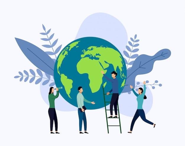 Dia da terra com a w ld, eco friendly, Vetor Premium