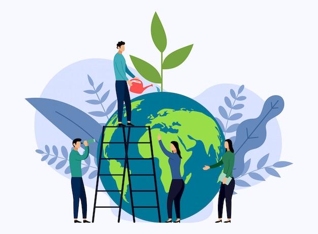 Dia da terra com o mundo, conceito amigável de eco Vetor Premium