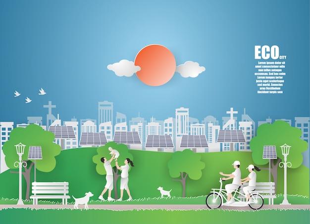 Dia da terra de eco e dia do ambiente de mundo com cidade verde. Vetor Premium